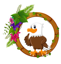 Eagle on round wood frame with flower vector