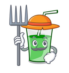 farmer green smoothie character cartoon vector image