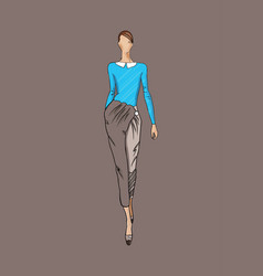fashion a girl model in vector image