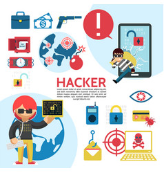 flat hacking template vector image