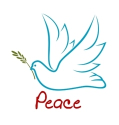 Flying dove of peace with green twig vector