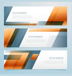 geometric business banner design set of three vector image