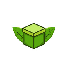 green box and leaf save logo design inspiration vector image