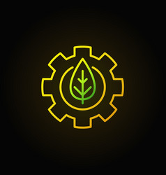Green leaf in gear concept icon vector