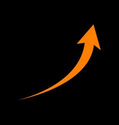 growing arrow sign orange icon on black vector image