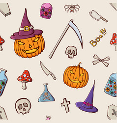 halloween color seamless pattern vector image