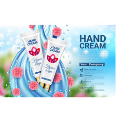 Hand cream white tube blue drop and pink flowers vector