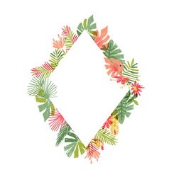 hand drawn tropical flower rhombus frame vector image