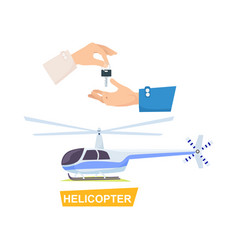 hand passing key process of buying helicopter vector image