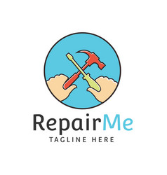 Hand repair screwdrivers hammer circle logo vector