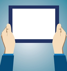Hands holding tablet vector image