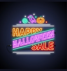 happy halloween sale neon sign vector image