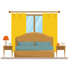 Isolated classic bedroom interior vector
