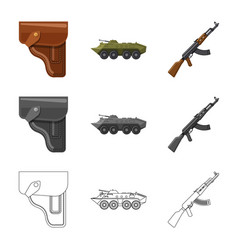 Isolated object weapon and gun logo set of vector