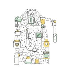 Kitchen concept flat line art vector