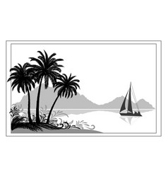 landscape with ship palms and mountains vector image