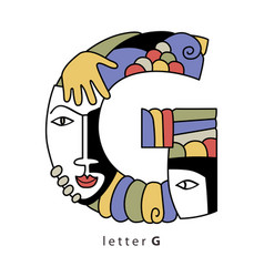Letter g with masks vector