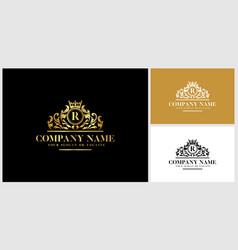 Letter r logo design luxury gold vector