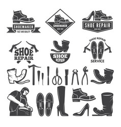 monochrome of various tools for shoe vector image