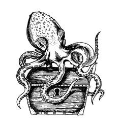 Octopus guards treasure engraving vector