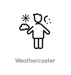 Outline weathercaster icon isolated black simple vector