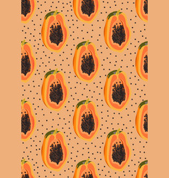 Papaya fruits seamless pattern on orange vector