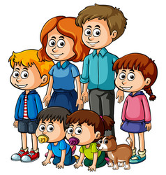 Parents with many happy children vector