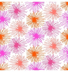 Pattern with small furry flowers or pompoms vector