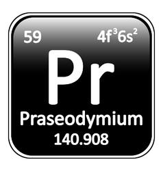 Periodic table element praseodymium icon vector