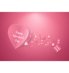 Pink hearts and gift box Valentines day and love vector