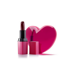 Pink lipstick with 3d realistic heart lipstick vector