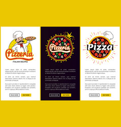 pizzeria with italian recipes promo banners set vector image