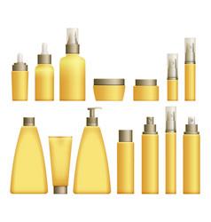 Realistic yellow cosmetics bottles vector