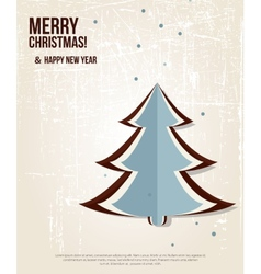 Retro Christmas card with christmas tree vector