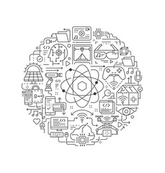 round design element with technology icon vector image