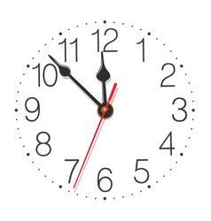 Round wall clock face with glossy metallic hands vector