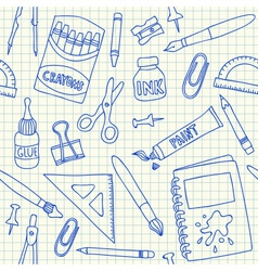 School supplies doodles on school squared paper vector image
