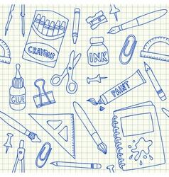 School supplies doodles on school squared paper vector