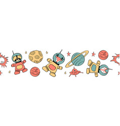 Seamless horizontal border with animals in space vector