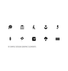 set of 10 editable planting icons includes vector image