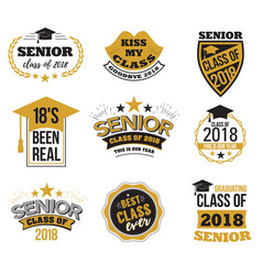Set of black and gold colored senior text vector
