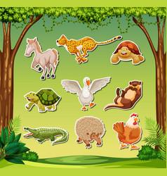 set of exotic animal sticker vector image