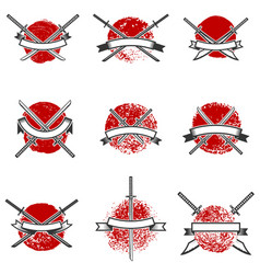 set of labels with samurai swords design elements vector image