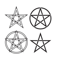 Set of pentagram dot work ancient pagan symbol vector