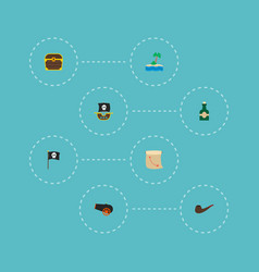 Set of piracy icons flat style symbols with flag vector