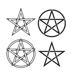 Set pentagram dot work ancient pagan symbol vector