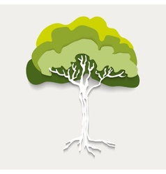 Silhouette green tree vector image