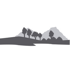 silhouette muntain tree landscape natural image vector image