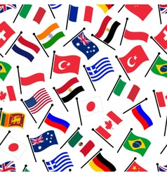 Simple color curved flags of different country vector