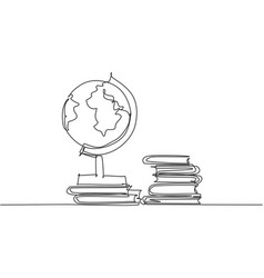 single one line drawing globe and stack of vector image